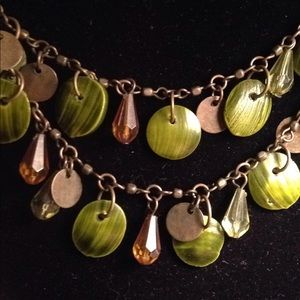 Green Vintage double strand shell necklace